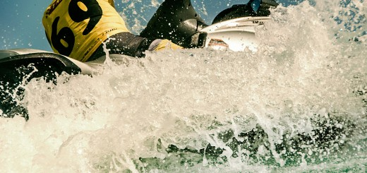 A photo of a jetski at close range.
