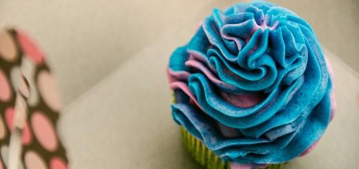 A photo of a blue velvet cupcake.