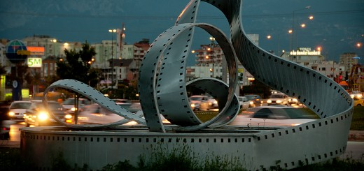 A photo of a sculpture outside the Golden Orange Film Festival grounds.