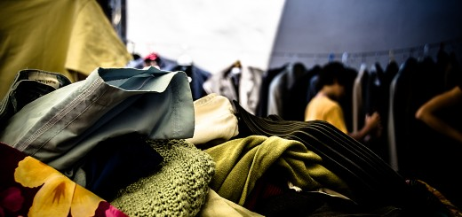 A photo of second-hand clothes in a pile.