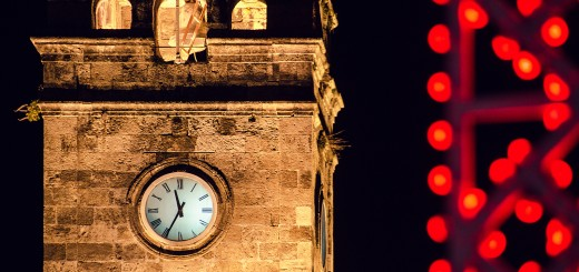 A photo of the Antalya clock tower at 23.35 on New Year's Eve.