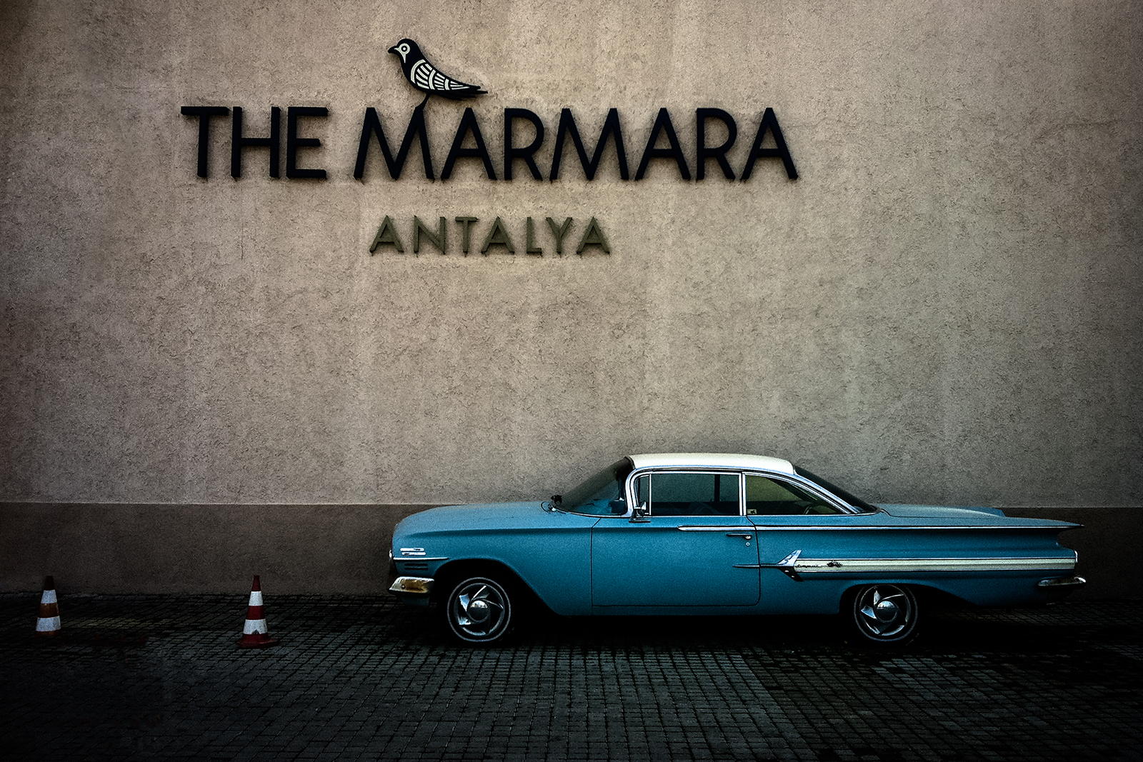 A photo of a classic car outside The Marmara hotel in Antalya.