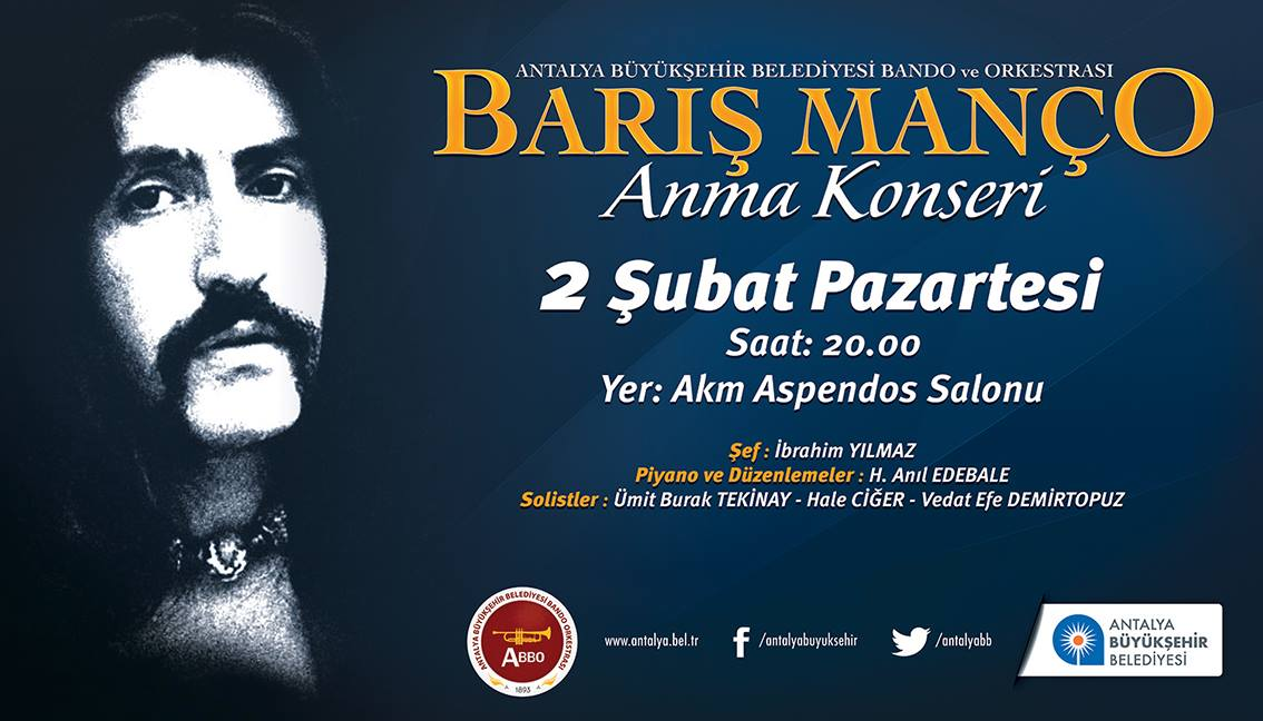A scan of a poster advertising a Barış Manço concert in Antalya.