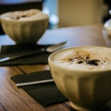 A photo of two cups of cappuccino at Kafe'in in Antalya.